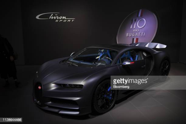 A Bugatti Automobiles SAS Chiron Sport luxury automobile sits on display at an event ahead of the 89th Geneva International Motor Show in Geneva...