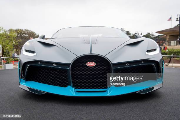A Bugatti Automobiles SAS Divo vehicle sits on display at the 2018 Pebble Beach Concours d'Elegance in Pebble Beach California US on Saturday Aug 25...