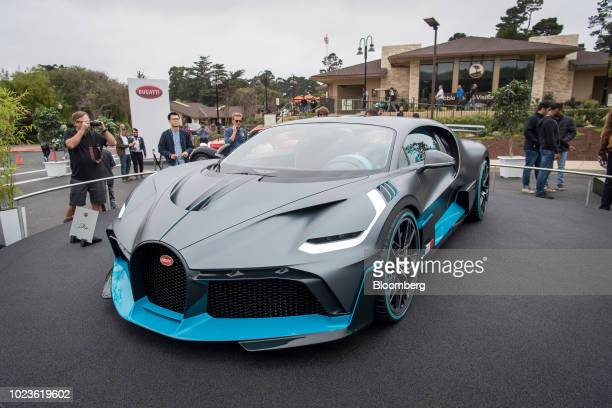 A Bugatti Automobiles SAS Divo vehicle sits on displayed at the 2018 Pebble Beach Concours d'Elegance in Pebble Beach California US on Saturday Aug...
