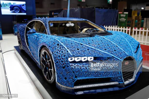 Bugatti Chiron automobile made with LEGO blocks is on display during the first press day of the Paris Motor Show at the Parc des Expositions at the...