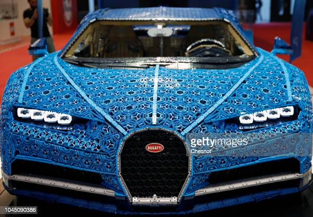 Bugatti Chiron automobile made with LEGO blocks is on display during the second press day of the Paris Motor Show at the Parc des Expositions at the...