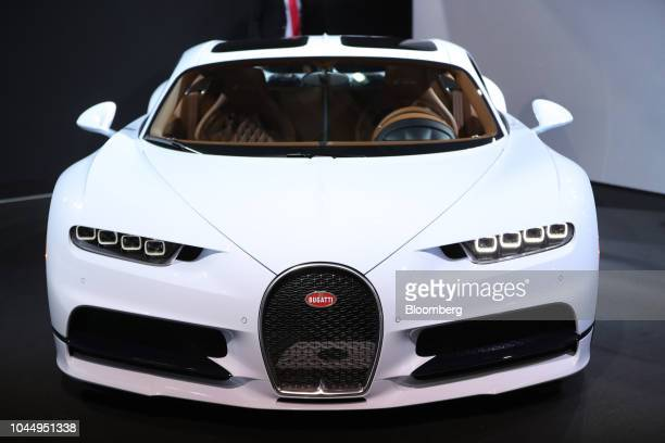 A Bugatti Chiron high performance luxury automobile stands on display during the Paris Motor Show in Paris France on Tuesday Oct 2 2018 The auto...