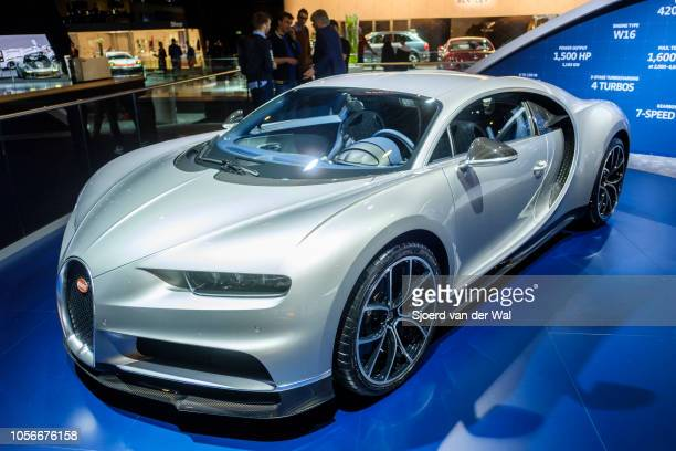 Bugatti Chiron midengined W16 engine exclusive hypercar on display at Brussels Expo on January 10 2018 in Brussels Belgium The Bugatti Chiron is...