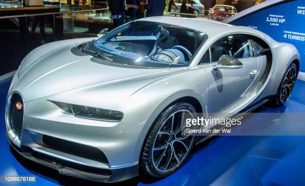 Bugatti Chiron mid-engined W16 engine exclusive hypercar on display at Brussels Expo on January 10, 2018 in Brussels, Belgium. The Bugatti Chiron is...