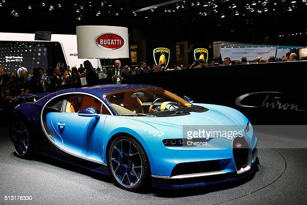 Bugatti Chiron model is displayed during the press day of the 86th Geneva International Motor Show on March 1 2016 in Geneva Switzerland The 86th...