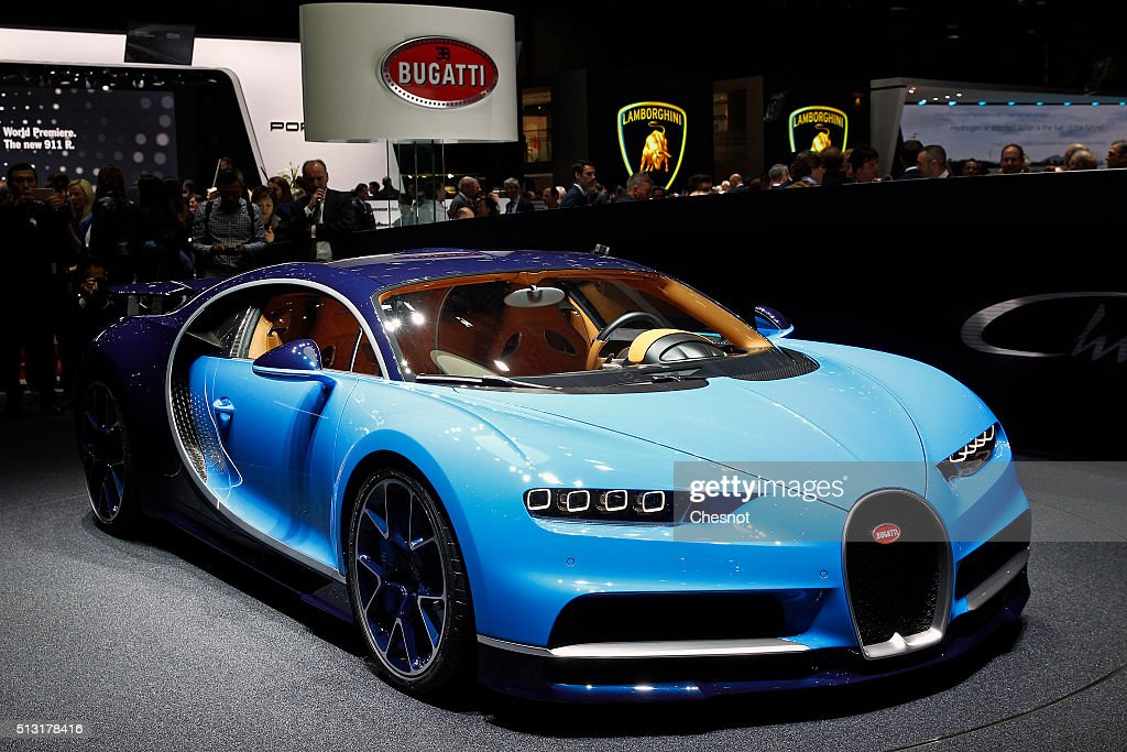 A Bugatti Chiron model is displayed during the press day of the 86th Geneva International Motor Show on March 1, 2016 in Geneva, Switzerland. The 86th International Motor Show which runs from March 3 to 13, 2016 will present novelties in the car industry.