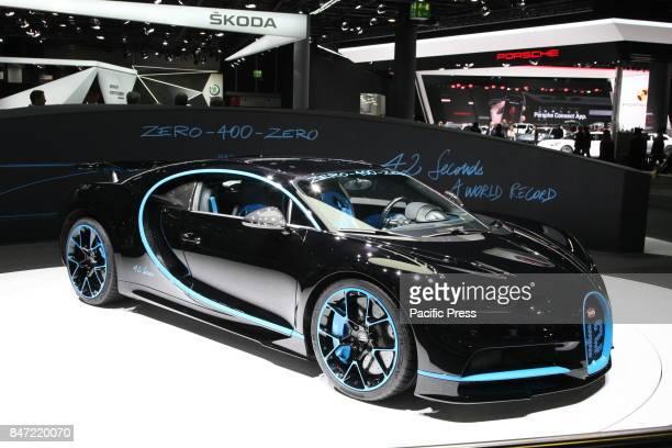 Bugatti Chiron on display during the Frankfurt Motor Show IAA 2017 in Frankfurt am Main