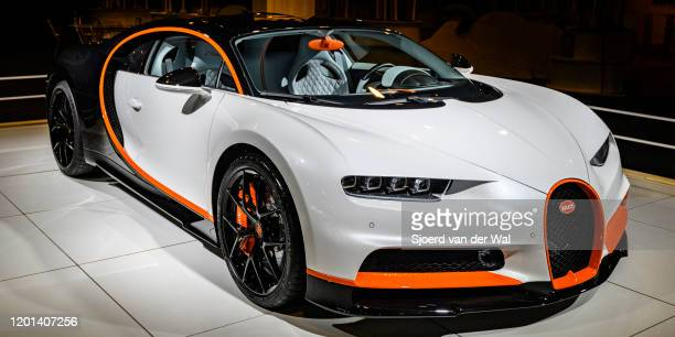 Bugatti Chiron Sport midengined W16 engine exclusive hypercar on display at Brussels Expo on January 8 2020 in Brussels Belgium The Bugatti Chiron is...