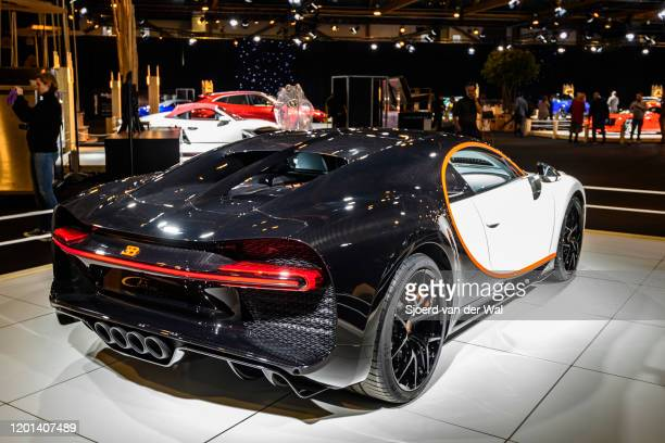 Bugatti Chiron Sport mid-engined W16 engine exclusive hypercar on display at Brussels Expo on January 8, 2020 in Brussels, Belgium. The Bugatti...