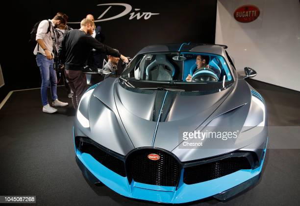 Bugatti Divo automobile is on display during the second press day of the Paris Motor Show at the Parc des Expositions at the Porte de Versailles on...