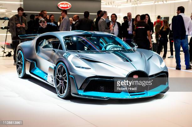 Bugatti Divo is displayed during the second press day at the 89th Geneva International Motor Show on March 5 2019 in Geneva Switzerland