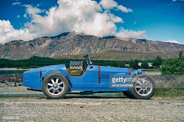 bugatti replica at lake tekapo - bugatti stock photos and pictures