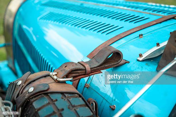 bugatti type 35 vintage race car detail - concours stock photos and pictures