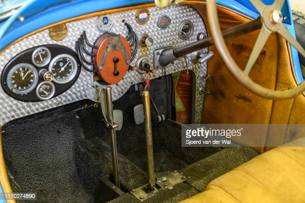 Bugatti Type 43 classic sports car dashboard of the 1920s on display at the 2019 Concours d'Elegance at palace Soestdijk on August 25 2019 in Baarn...