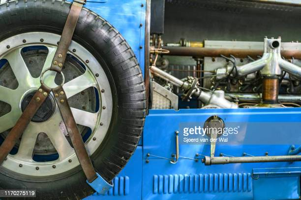 Bugatti Type 43 classic sports car of the 1920s spare wheel and engine detail on display at the 2019 Concours d'Elegance at palace Soestdijk on...