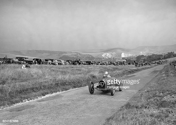 Bugatti Type 59 of A Baron competing in the Bugatti Owners Club Lewes Speed Trials, Sussex, 1937. Artist: Bill Brunell.Bugatti Type 59 3257S cc....