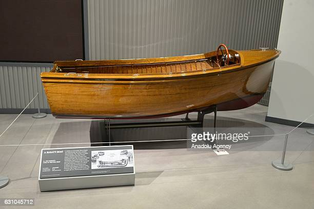 A 1947 Bugatti Type 75 YouYou boat is shown at the Petersen Automotive Museum in Los Angeles CA on December 5 2017 This is a part of Type 75 boat...