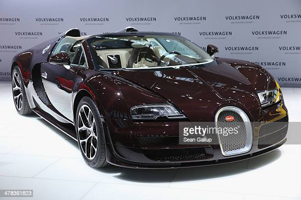 Bugatti Veyron 164 Grand Sport Vitesse car stands on display prior to the Volkwagen annual press conference to announce financial results for 2013 on...