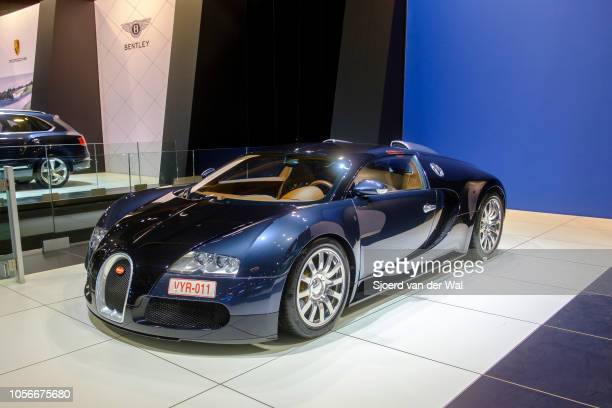 Bugatti Veyron midengined W16 engine exclusive hypercar on display at Brussels Expo on January 10 2018 in Brussels Belgium The Bugatti Veyron is...