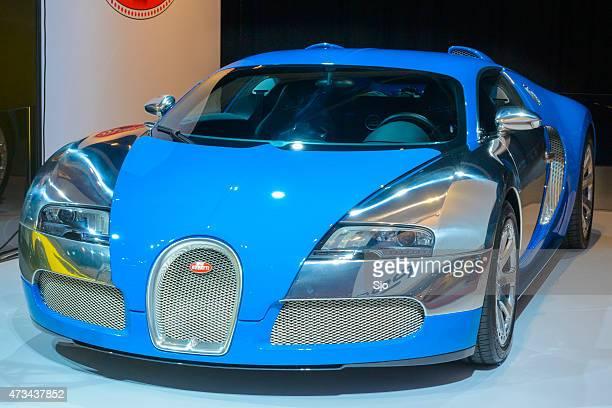bugatti veyron supercar front view - bugatti stock photos and pictures