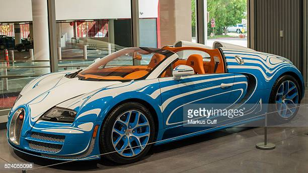Bugatti Veyron with a paint design by Royale Porcelain Manufacturer in Berlin on display in the lobby of the Petersen Automotive Museum in Los...