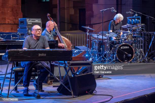 Bugge Wesseltoft Dan Berglund and Magnus Öström of Rymden perform on stage with during the 55th edition of the Heineken Jazzaldia Festival on July 26...