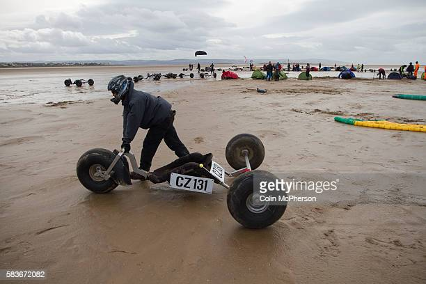 A buggy being wheeled out onto the course before one of the races at the European Kite Buggy Championships at Hoylake Wirral north west England...