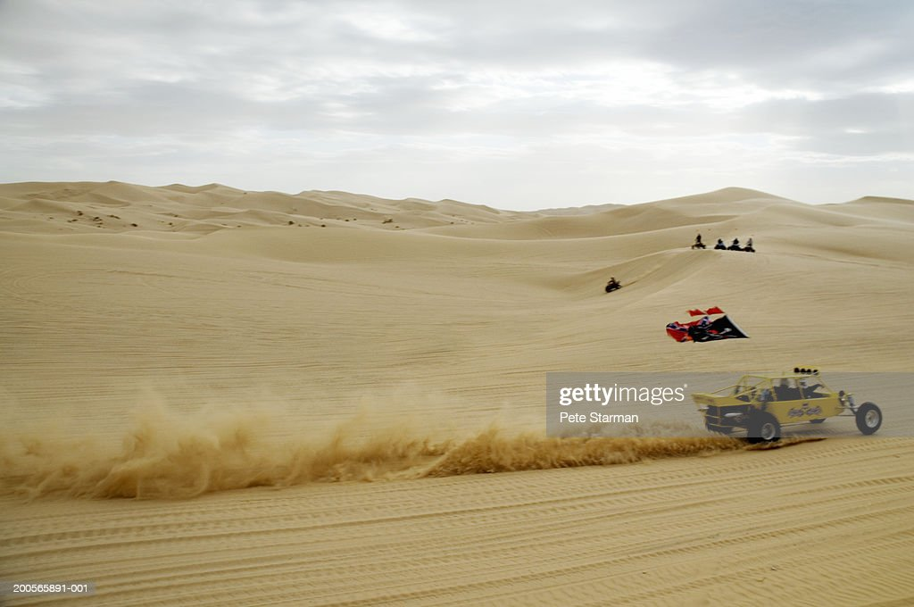 Buggy cars racing in desert : Stock Photo