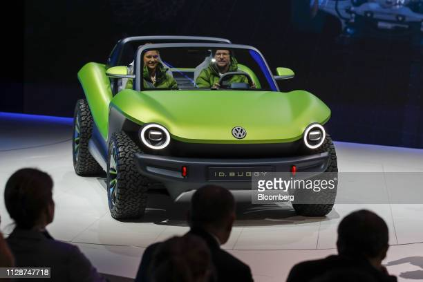 D Buggy electric concept automobile sits on display on Volkswagen AG stand the on the opening day of the 89th Geneva International Motor Show in...