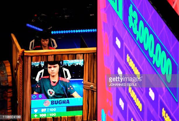 Bugha of the US plays during the final of the Solo competition at the 2019 Fortnite World Cup July 28, 2019 inside of Arthur Ashe Stadium, in New...
