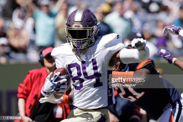 BugHoward of the Atlanta Legends is tackled out of bounds during the first half against the Orlando Apollos in an Alliance of American Football game...
