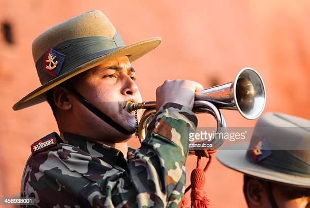 bugle salute - bugle stock pictures, royalty-free photos & images