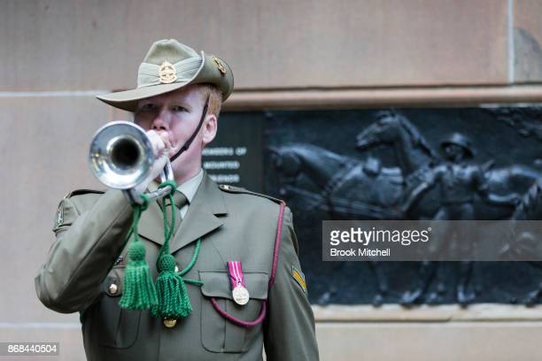 A bugler sounds off at 430pm to commemorate the Charge of Beersheba 100 years ago on October 31 2017 in Sydney Australia The Battle of Beersheba...