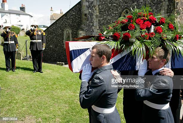Buglers play the last post as World War One veteran Henry Allingham's coffin leaves St Nicholas Church after his funeral on July 30 2009 in Brighton...