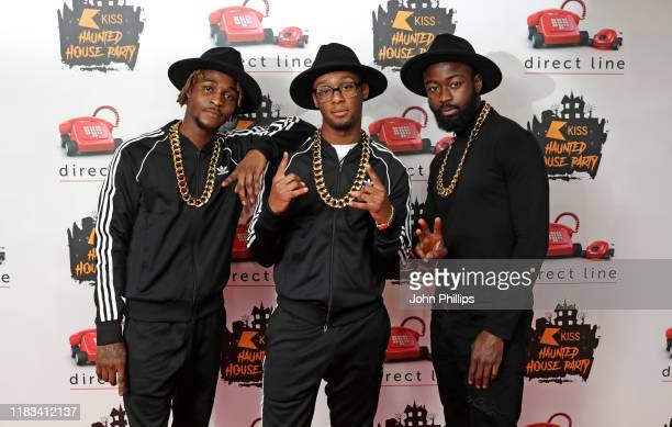 Bugsey DJ Banks and Young T attend the KISS Haunted House Party 2019 at The SSE Arena Wembley on October 25 2019 in London England