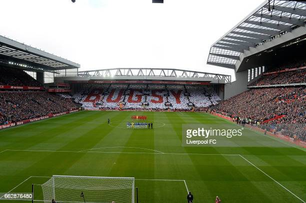 Bugsy Name In the e crowd In memory Of Ronnie Moran of Liverpool during the Premier League match between Liverpool and Everton at Anfield on April 1...