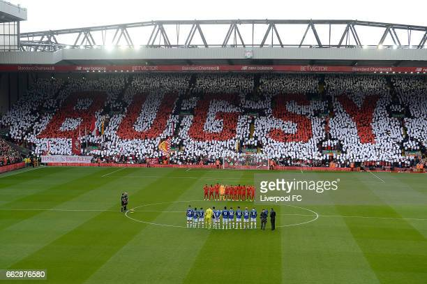 Bugsy Name In the e crowd In memory Of Ronnie Moran of Liverpool during the Premier League match between Liverpool and Everton at Anfield on April 1,...