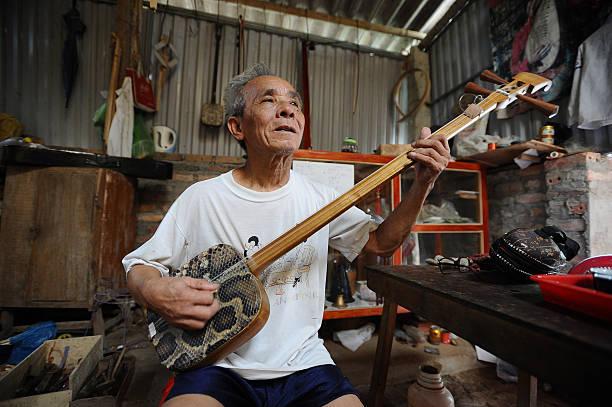Bui Van Vuoc plays a dan tam instrument at his workshop in Vinh Bao on September 19 2015 in Hai Phong Vietnam 81yearsold Bui Van Vuoc of Bao Ha Dong...