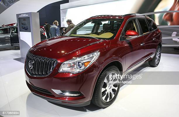 Buick Enclave 4WD model car is on display during the 116th New York International Auto Show at the Javits Convention Center in Manhattan New York on...