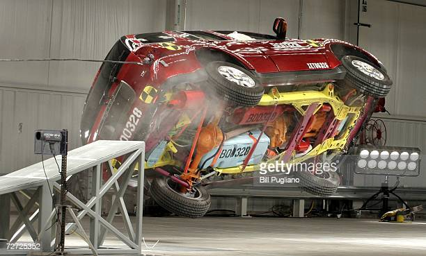 Buick Ranier flies off a ramp at 44 mph during a rollover crash test at General Motors' new $10 million crash testing center December 5 2006 in...