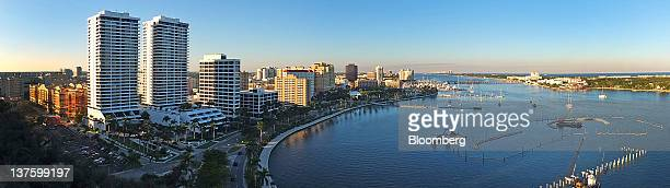 Buidlings stand in the skyline of West Palm Beach Florida US on Thursday Jan 5 2012 Florida will hold its Republican presidential primary on Jan 31...