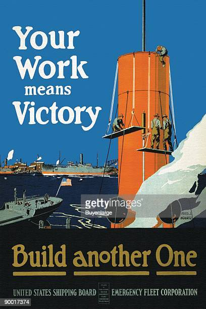 Build Another One a war effort poster to build more ships to keep supplies flowing in the war effort