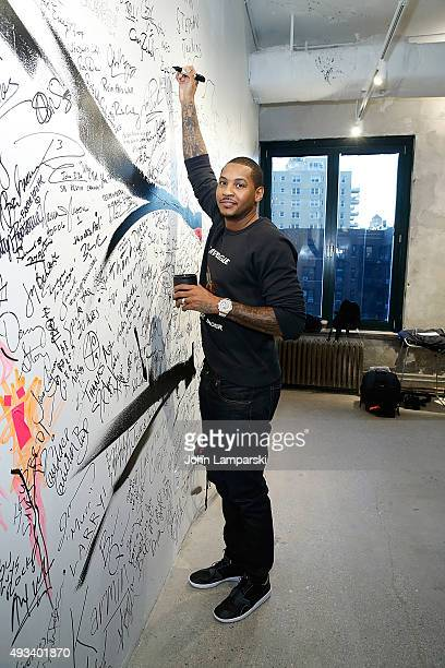 Build presents professional basketball player Carmelo Anthony at AOL Studios In New York on October 19 2015 in New York City