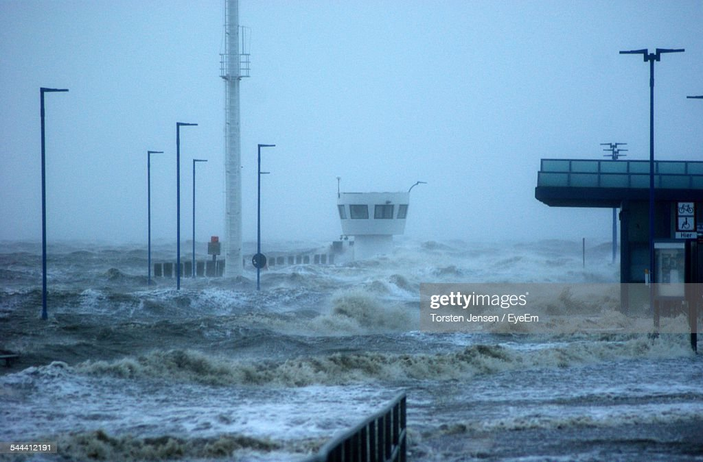 Build Structures And Sea Storm : Stock Photo