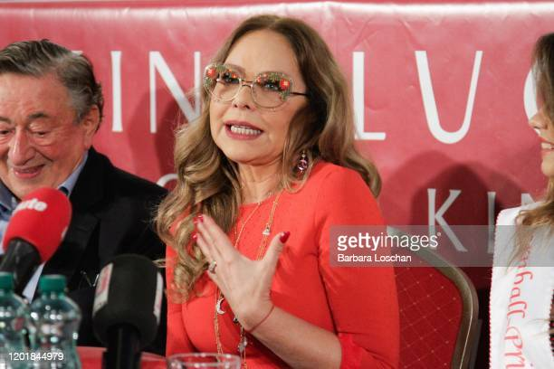 Builder and Businessman Richard Lugner and Opera Ball guest and Actress Ornella Muti during Vienna Opera Ball Press Conference With Ornella Muti at...