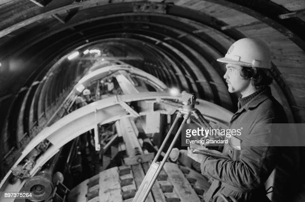 Builder Mike Pearce at work during the construction of the Channel Tunnel UK 21st January 1975