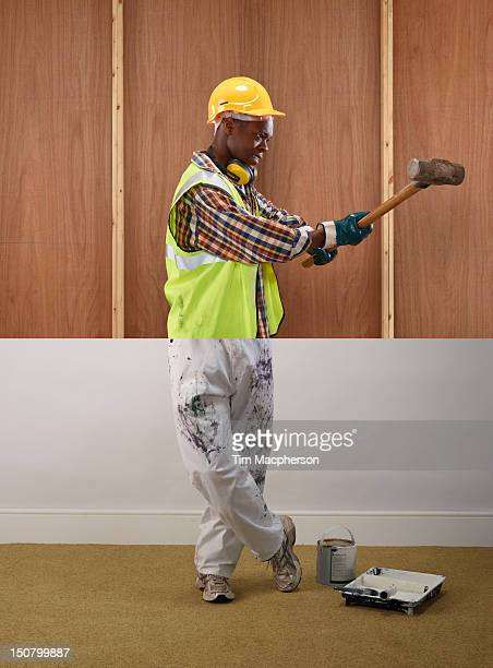 builder top, decorator bottom - offbeat stock pictures, royalty-free photos & images