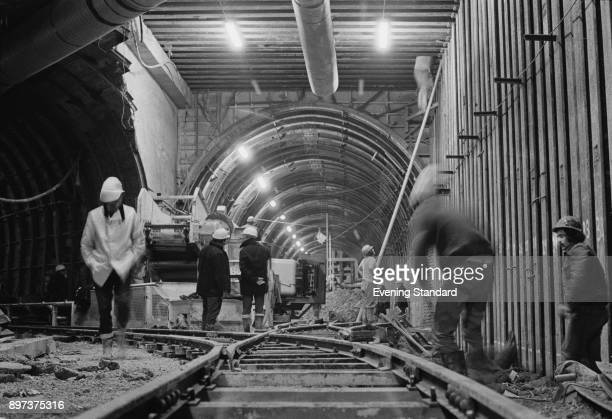 Builders at work during the construction of the Channel Tunnel UK 21st January 1975