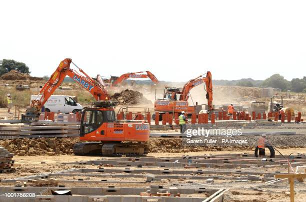 Builders at work on the early stages of the Chilmington Green Garden City in Ashford Kent which will see 5750 new homes be built over a period of 25...