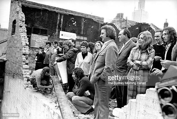 Builders Labourers Federation official Jack Mundey among demonstrators who blockaded part of The Rocks on 24 October 1973 SMH NEWS Picture by STAFF